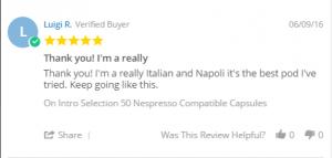 luigi r coffee pod review