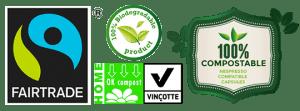Organic Fair Trade biodegradable compostable logos